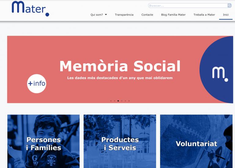 Així és la portada de la nova web de Mater